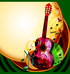 Music background with classical guitar vector