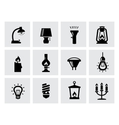 Various lighting icons of lamps on white vector