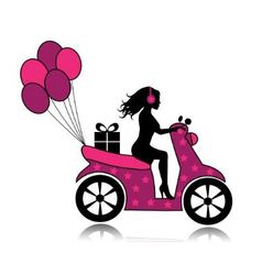Woman on a motorcycle driven by a gift and balloon vector