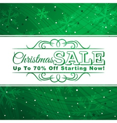 Green christmas background with label for sale vector
