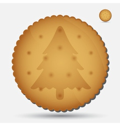 Christmas brown biscuit with tree symbol eps10 vector