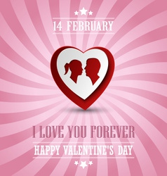 Valentines poster with a heart in background vector