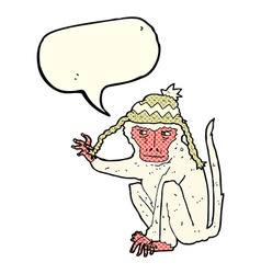 Cartoon monkey wearing hat with speech bubble vector