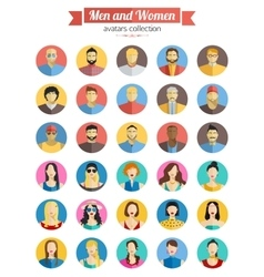 Set of men and women avatars icons colorful male vector
