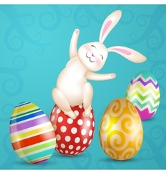 Easter eggs and white bunny vector