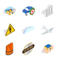 Belay icons set isometric style vector