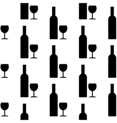 Bottle and glasse icon seamless pattern vector image vector image