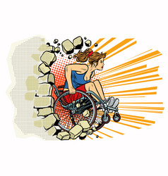 caucasian woman athlete in a wheelchair punches vector image
