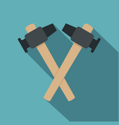 Crossed blacksmith hammer icon flat style vector
