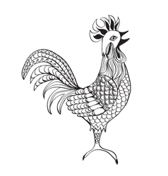 Decorative abstract ornate rooster drawing vector