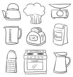 doodle of kitchen equipment set vector image vector image
