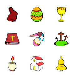 Easter icons set cartoon style vector