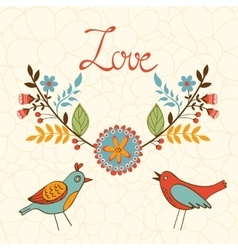 Elegant love card with birds vector