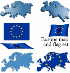 Europe map and flag set vector image vector image