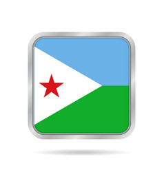 Flag of djibouti metallic gray square button vector