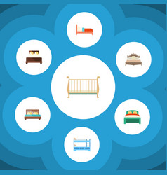 Flat bedroom set of bearings mattress bunk bed vector