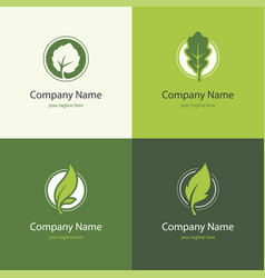 four logo with leaves in a shape of circle vector image vector image