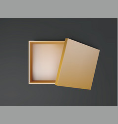 gold open empty squares cardboard box top view vector image
