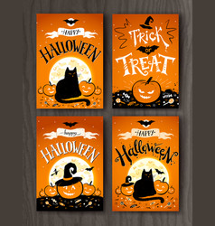 halloween and trick or treat postcards vector image