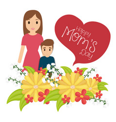 Happy moms day woman and son together flowers vector