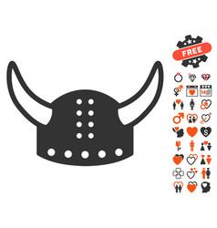 Horned helmet icon with dating bonus vector