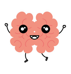Human brain kawaii character vector