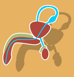 Human organ icon in sticker style male vector