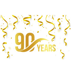 Isolated golden color number 90 with word years vector