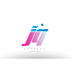 jq j q alphabet letter combination pink blue bold vector image vector image