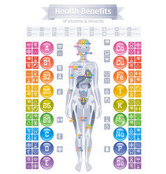 Mineral vitamin effect icons health benefit flat vector