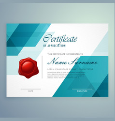 Modern abstract blue certificate design template vector