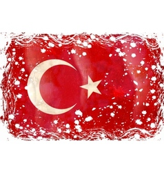 old grunge flag of turkey vector image vector image