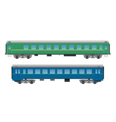 passenger train cars set vector image vector image