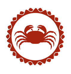 red stamp border with silhouette crayfish vector image vector image