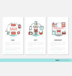 sale discount business brochure linear vector image