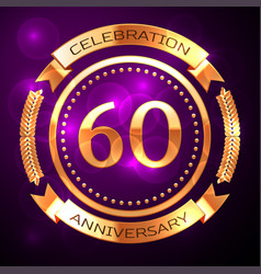 sixty years anniversary celebration with golden vector image