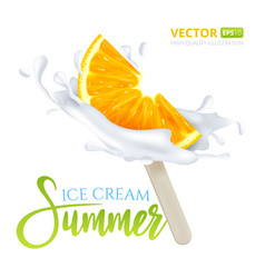 Slice of orange fruit ice cream on a stick with vector