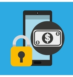 Smartphone bill money security vector