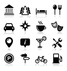 Travel tourism icons set - vector