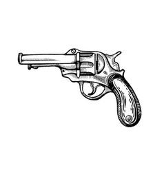 vintage revolver pop art vector image