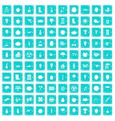 100 garden icons set grunge blue vector