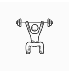 Man exercising with barbell sketch icon vector