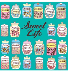 Candy jars background vector