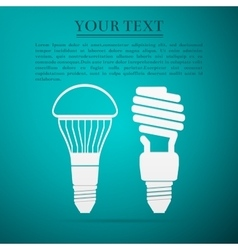 Cfl fluorescent and led light bulbflat icon on vector