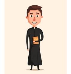 Young catholic priest cartoon vector