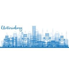 Outline ekaterinburg skyline with blue buildings vector