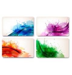 Collection of colorful abstract watercolor cards vector