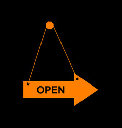 open sign orange icon on black vector image