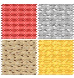 Color brick wall textures collection vector