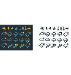 Weather forecast symbols on dark and light vector
